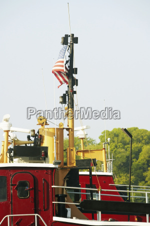 american flag on a boat savannah