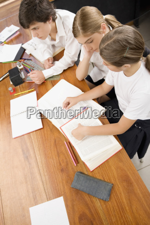 high angle view of two schoolgirls