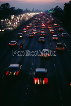 traffic on santa monica freeway at
