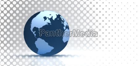 3d globe on halftone background