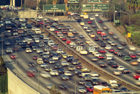 traffic on los angeles freeways with