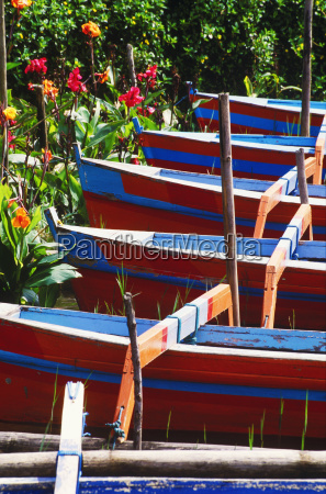 high angle view of rowboats bali
