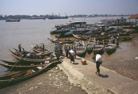 high angle view of rowboats moored