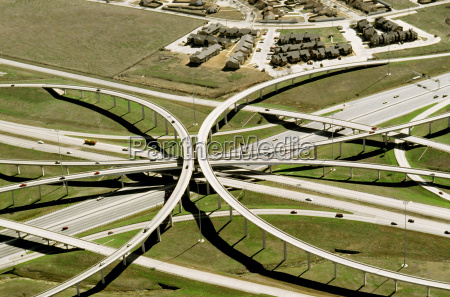 aerial view of a highway clover