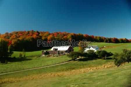 farm scene with fall foliage