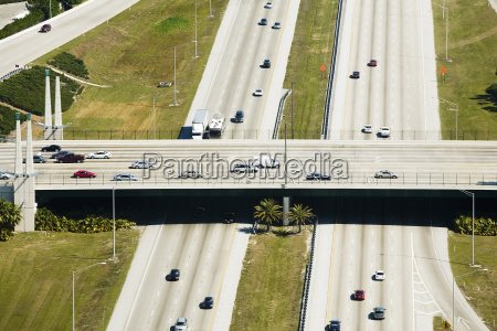 vehicles moving on the road interstate