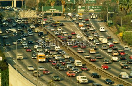 overhead of heavy traffic on freeway