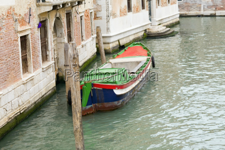 boat docked in a canal grand
