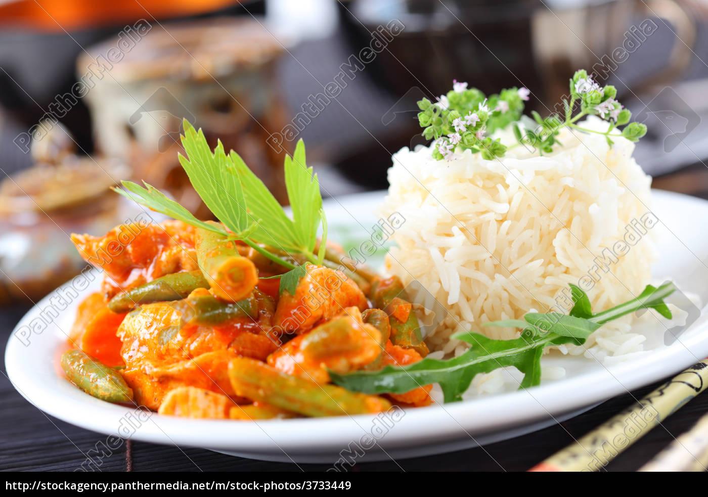 red, chicken, curry, streifen, mit, reis - 3733449