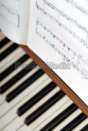 noten auf dem klavier