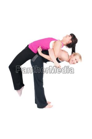 frau sport gymnastik maedchen fitness zwei