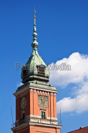 royal castle tower in warsaw old