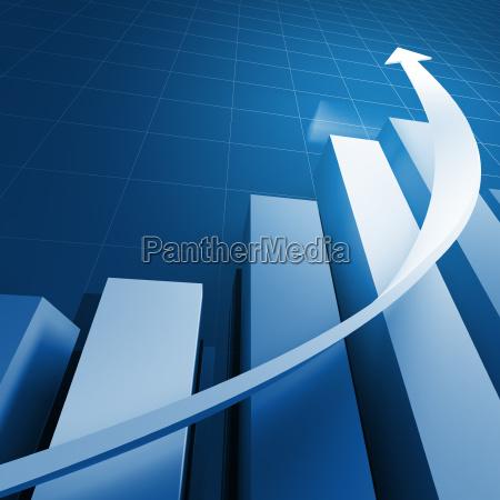 finanziellen status und weissen pfeil