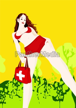 sexy girl with bag and swiss