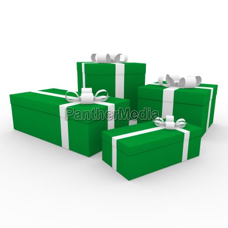 3d gruen weiss geschenkbox