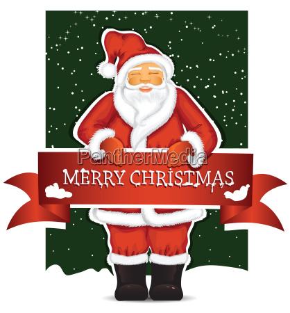 santa claus mit weihnachtsfahne