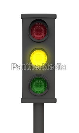 gelbe 3d ampel schwarz