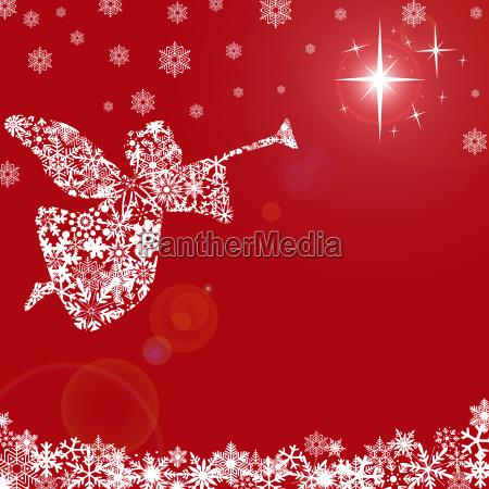 weihnachtsengel mit trompete und schneeflocken