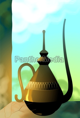 goldene arabische teekanne