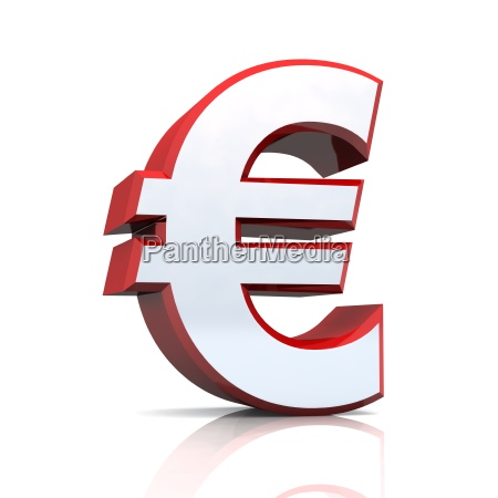 3d euro symbol silver red
