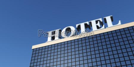 silber hotel schild auf dem dach