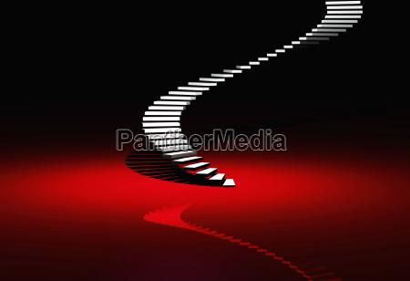 die vip wendeltreppe auf rot
