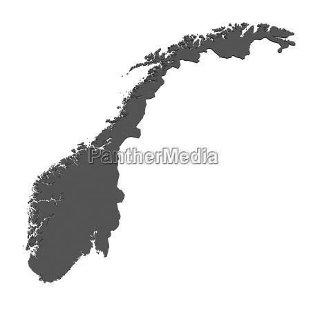karte, von, norwegen, -, isoliert - 3910699