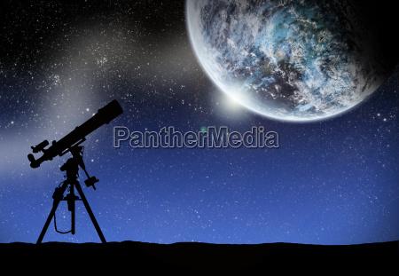 teleskop unter einem raum lanscape