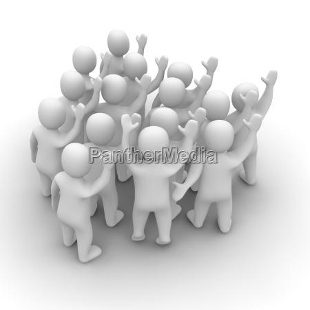 waving people