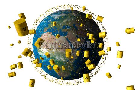 gelbe faesser mit atommuell umkreisen den