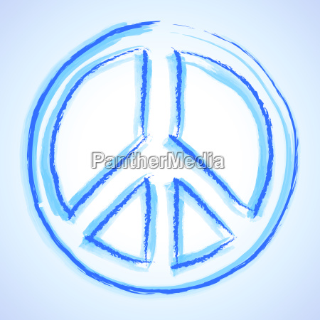 aquarell peace zeichen blau