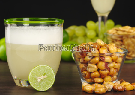 pisco sour and roasted corn