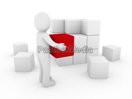 3d human cube red