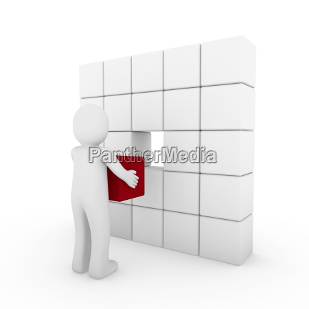 3d human cube red white