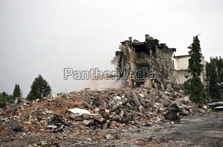 destroyed building debris series