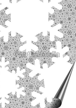 schneeflocken mit aufgerollter ecke