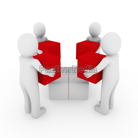 3d peoplecube box team red white