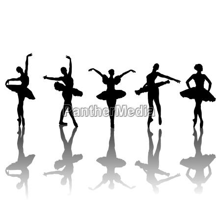 fuenf ballett taenzer silhouetten in verschiedenen