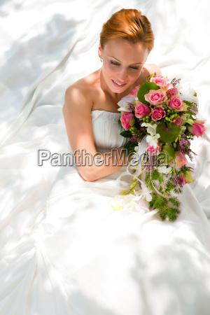 wedding bride with bridal bouquet