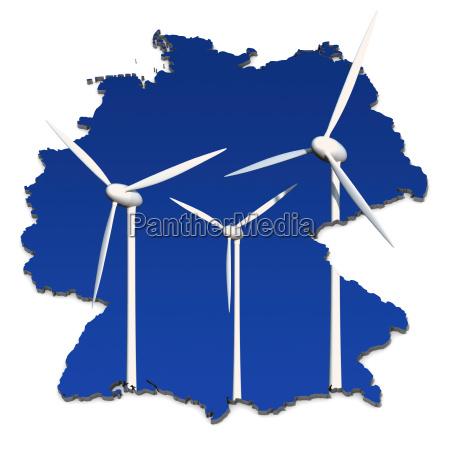 windkraftrad vor blau deutschlandkarte