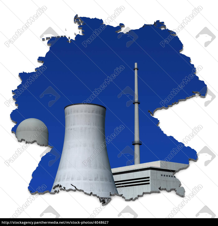 Atomkraftwerke Deutschland Karte.Lizenzfreies Bild 4048627 Atomkraftwerk Vor Blau Deutschlandkarte