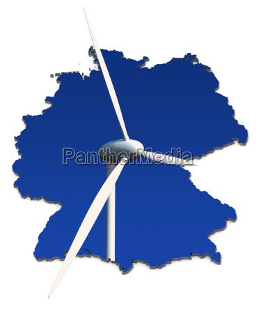 windkraftrad, vor, blau, , deutschlandkarte - 4048609