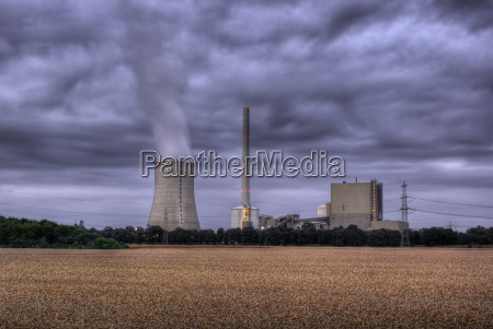 power plant and grain field