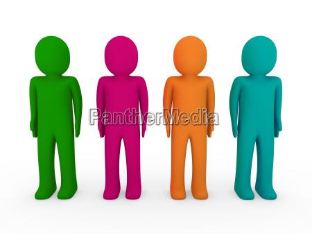 3d menschenteam gruen rosa orange tuerkis