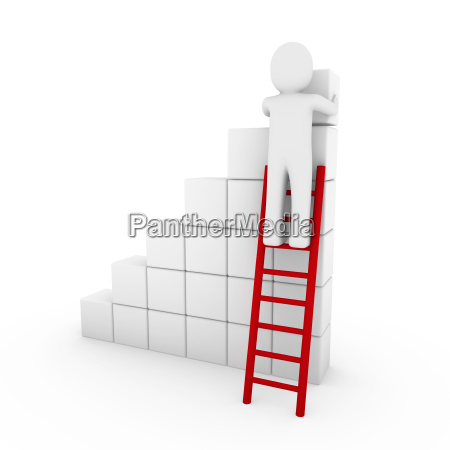 3d human cube ladder red