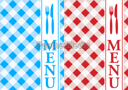 menuekarte rot und blau gingham