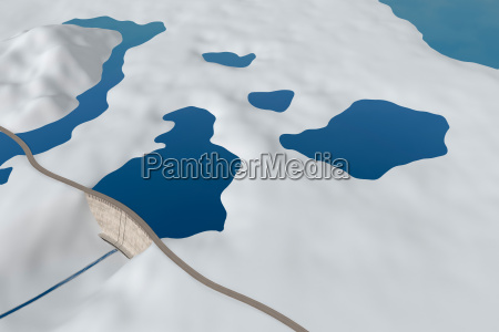 dam in an abstract stylized landscape