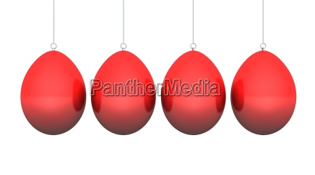 red easter eggs hanging isolated 1