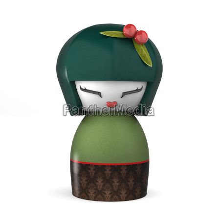 3d japanese kokeshi doll isolated on