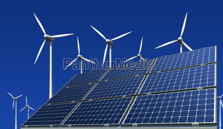 monocrystalline solar panels and wind turbines
